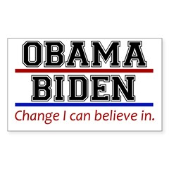 Obama Biden Change Sticker (Rectangle)