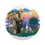 St. Francis #2 / Italian Greyhound Ornament (Round