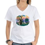 St. Francis #2 / Italian Greyhound Women's V-Neck