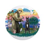 St. Fran. #2 / Great Dane (blk) Ornament (Round)