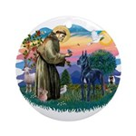 St. Fran #2/ Blue Great Dane Ornament (Round)