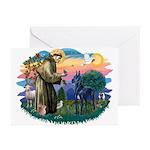 St. Fran #2/ Blue Great Dane Greeting Cards (Pk of