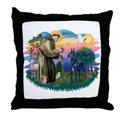 St. Fran #2/ Blue Great Dane Throw Pillow