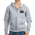 St. Fran #2/ Blue Great Dane Women's Zip Hoodie