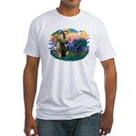 St. Fran #2/ Blue Great Dane Fitted T-Shirt