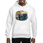 St. Fran #2/ Blue Great Dane Hooded Sweatshirt