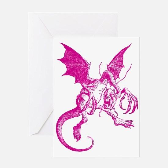 Jabberwocky Pink Greeting Card