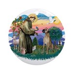 St. Fran. #2 / Great Dane (nat) Ornament (Round)