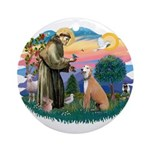 St. Fran #2/ Greyhound (lt.red) Ornament (Round)