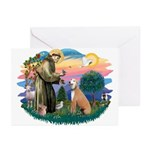 St. Fran #2/ Greyhound (lt.red) Greeting Cards (Pk