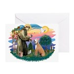 St. Fran #2/ Greyhound (lt.red) Greeting Card