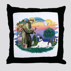 St. Fran. #2/ Greyhound (bw) Throw Pillow