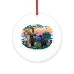 St Fran./ G Schnauzer (blk) Ornament (Round)