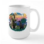 St Fran./ G Schnauzer (blk) Large Mug