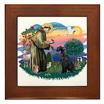 St Fran./ G Schnauzer (blk) Framed Tile