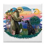 St Fran./ G Schnauzer (blk) Tile Coaster
