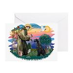 St Fran./ G Schnauzer (blk) Greeting Cards (Pk of