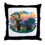 St Fran./ G Schnauzer (blk) Throw Pillow