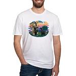St Fran./ G Schnauzer (blk) Fitted T-Shirt