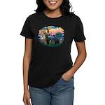 St Fran./ G Schnauzer (blk) Women's Dark T-Shirt