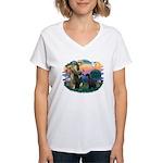 St Fran./ G Schnauzer (blk) Women's V-Neck T-Shirt
