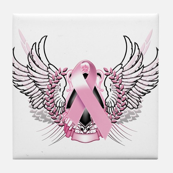 Awareness Tribal Pink Tile Coaster