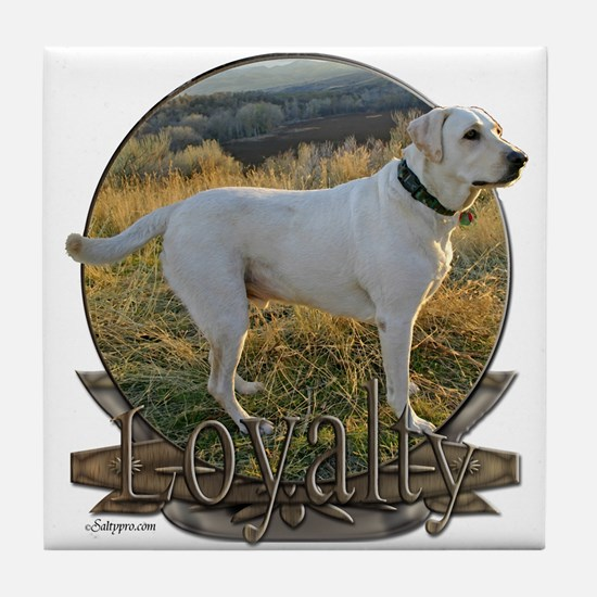 White lab loyalty Tile Coaster