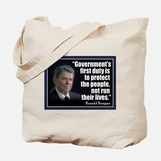REAGAN: Government's first duty... QUOTE Tote Bag