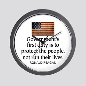 REAGAN: Government's first duty... QUOTE Wall Cloc