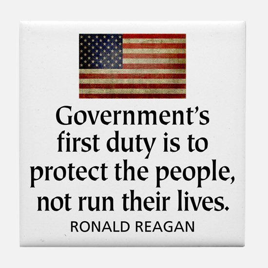 REAGAN: Government's first duty... QUOTE Tile Coas