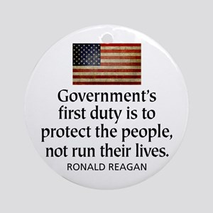 REAGAN: Government's first duty... QUOTE Ornament
