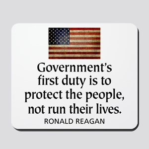 REAGAN: Government's first duty... QUOTE Mousepad