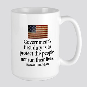REAGAN: Government's first duty... QUOTE Large Mug