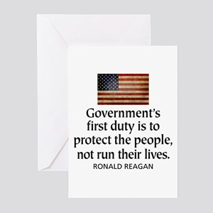 REAGAN: Government's first duty... QUOTE Greeting