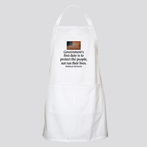REAGAN: Government's first duty... QUOTE Apron