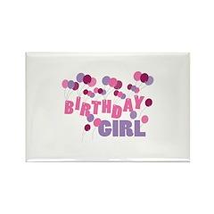 Birthday Girl Balloons Rectangle Magnet