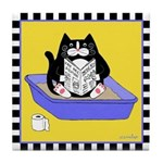 Tuxedo Cat in a Litterbox Tile Coaster - Yellow
