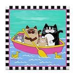 4 Cats in a Boat & DucksTile Coaster