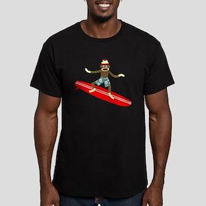 Sock Monkey Surfer Men's Fitted T-Shirt (dark)