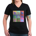 Warhol Style Jack Russell Design on Women's V-Neck