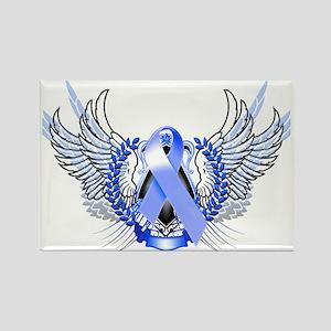 Awareness Tribal Blue Rectangle Magnet