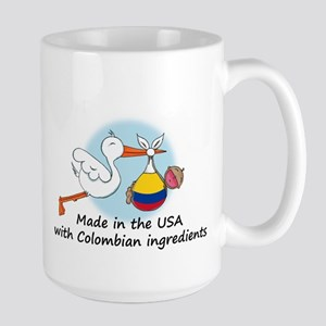 Stork Baby Colombia USA Large Mug