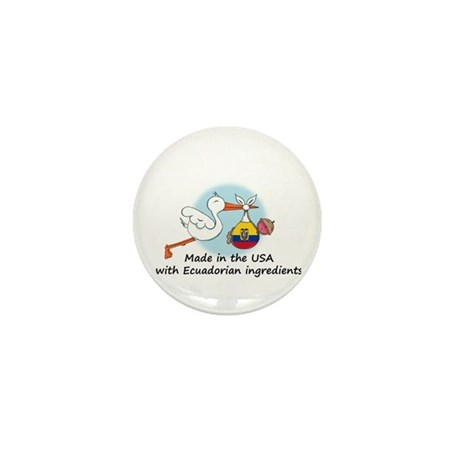 Stork Baby Ecuador USA Mini Button