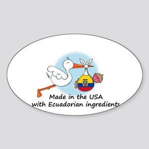 Stork Baby Ecuador USA Sticker (Oval)