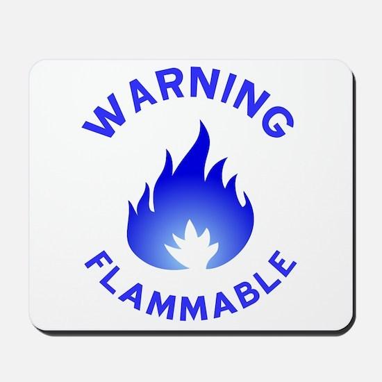 Flammable Warning (blue) Mousepad