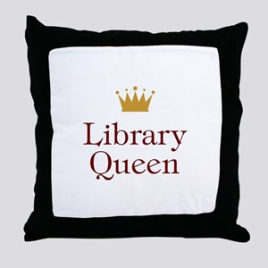 Library Queen Throw Pillow