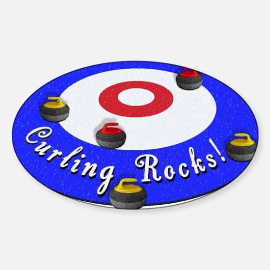 Curling Circle with Rocks Sticker (Oval)