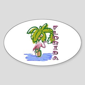 Florida flamingo Sticker (Oval)