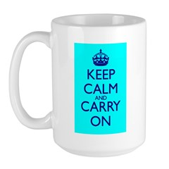 Keep Calm and Carry On Blue Blue Mug Front+Back
