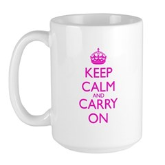 Keep Calm and Carry On Pink Mug Front+Back